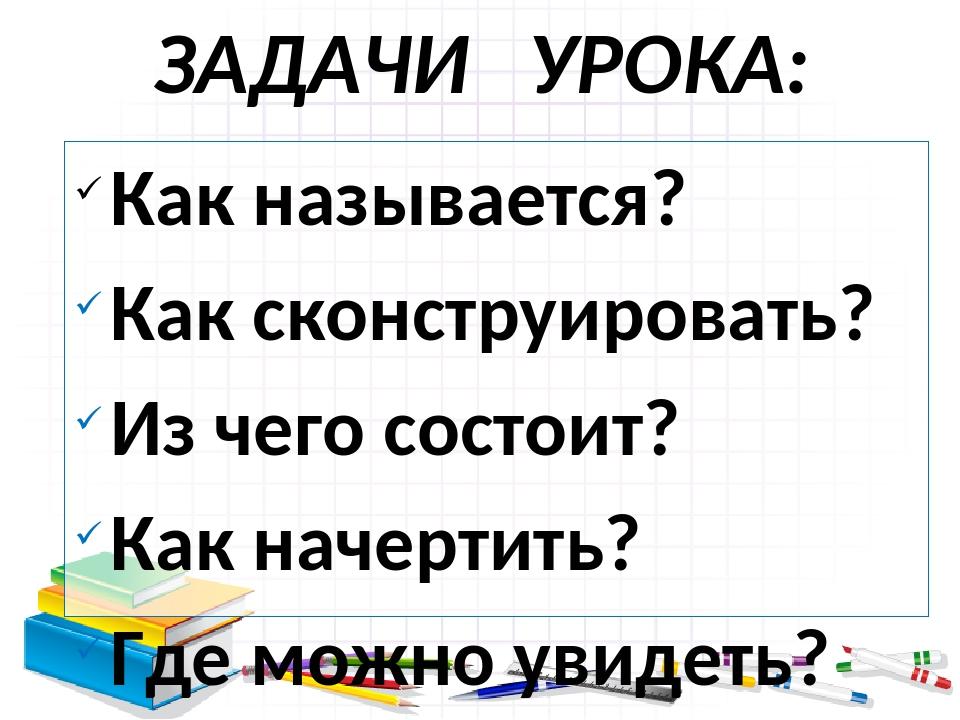 ЗАДАЧИ УРОКА: Как называется? Как сконструировать? Из чего состоит? Как начер...