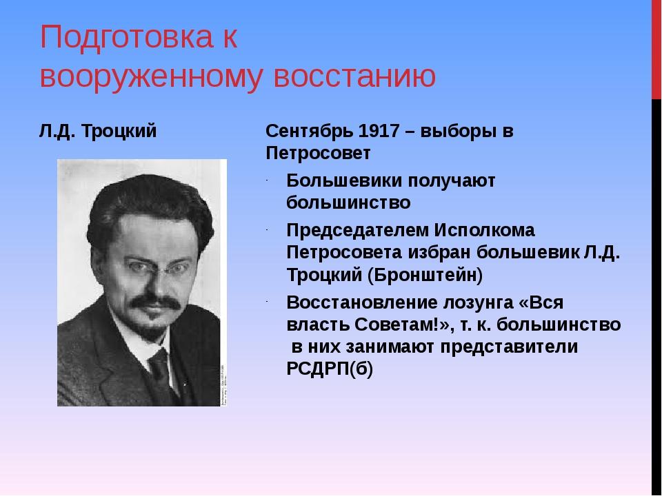 Сентябрь 1917 – выборы в Петросовет Большевики получают большинство Председат...