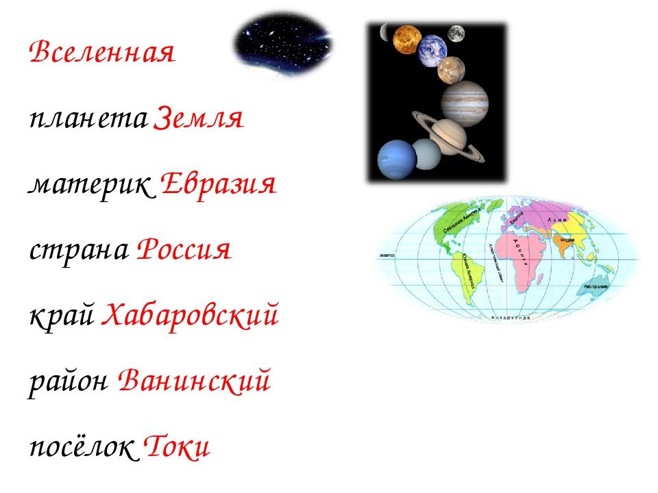 Вселенная планета Земля материк Евразия страна Россия край Хабаровский район...