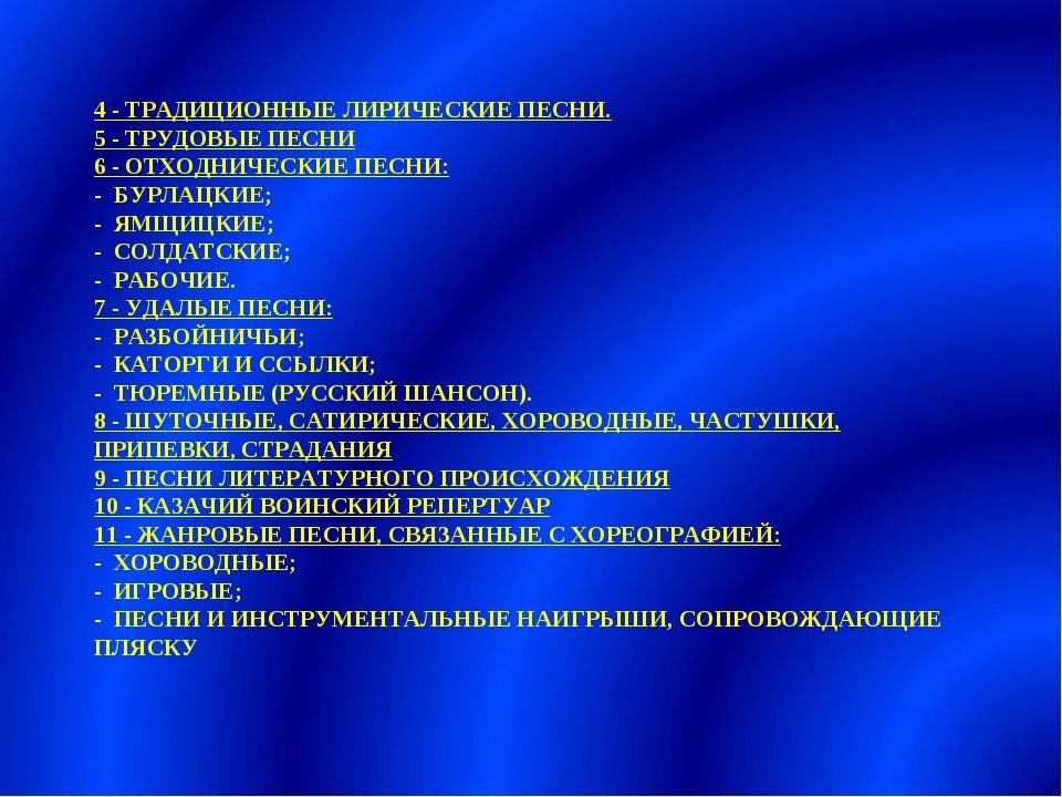 4 - ТРАДИЦИОННЫЕ ЛИРИЧЕСКИЕ ПЕСНИ. 5 - ТРУДОВЫЕ ПЕСНИ 6 - ОТХОДНИЧЕСКИЕ ПЕСНИ...