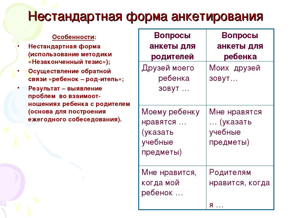 Нестандартная форма анкетирования Особенности: Нестандартная форма (использов...