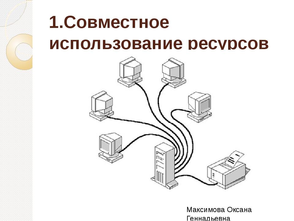 1.Совместное использование ресурсов Максимова Оксана Геннадьевна