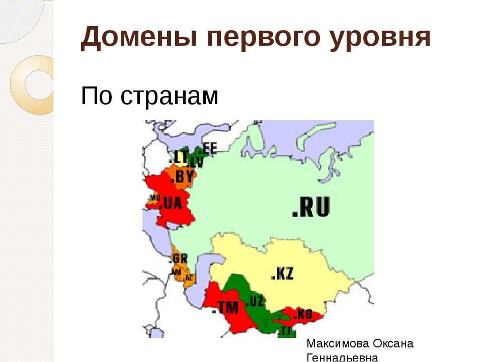 Домены первого уровня По странам – Максимова Оксана Геннадьевна