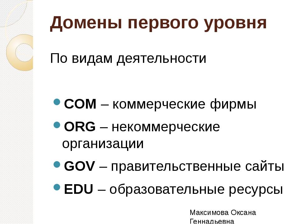 Домены первого уровня По видам деятельности COM – коммерческие фирмы ORG – не...