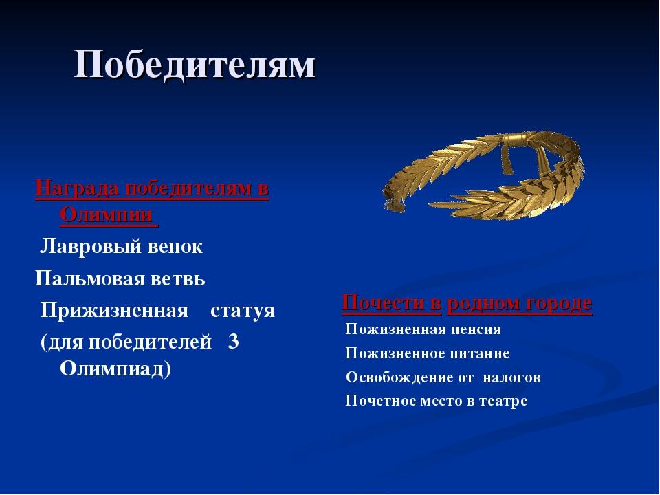Победителям Награда победителям в Олимпии Лавровый венок Пальмовая ветвь Приж...