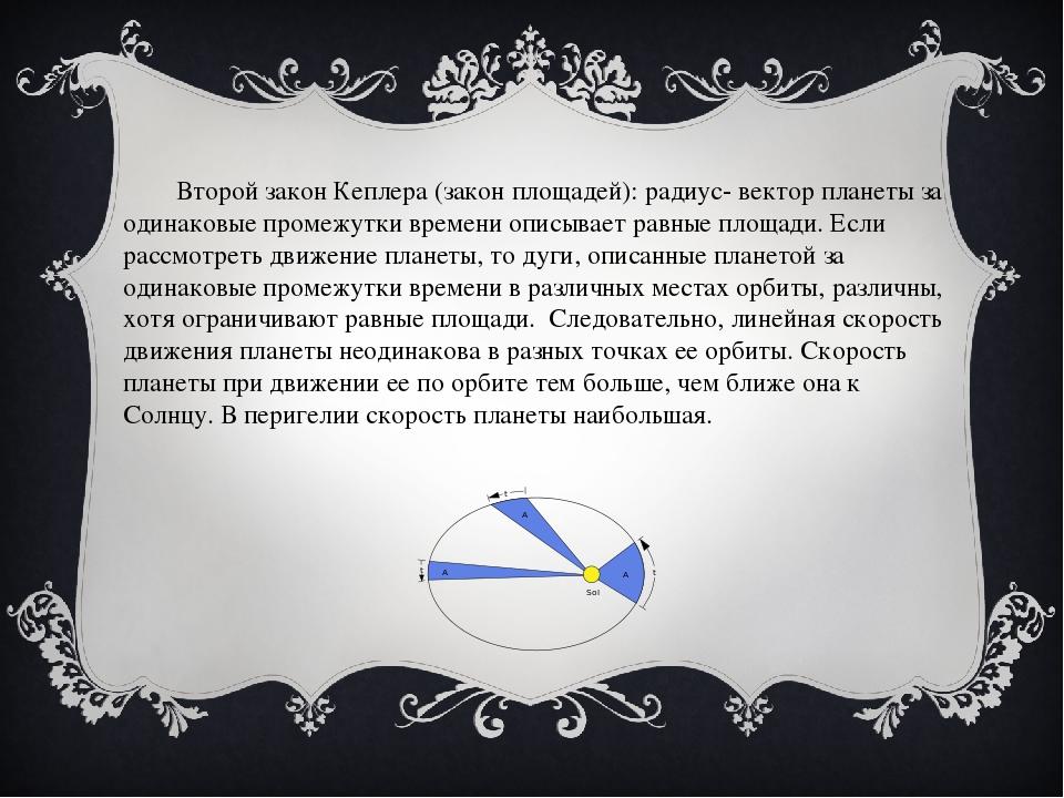Второй закон Кеплера (закон площадей): радиус- вектор планеты за одинаковые...