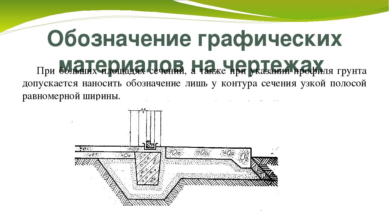 Обозначение графических материалов на чертежах При больших площадях сечений,...