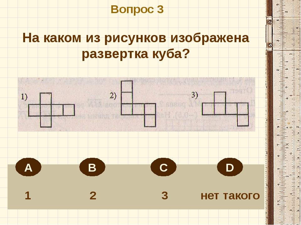 Вопрос 3 1 2 3 нет такого На каком из рисунков изображена развертка куба? А...