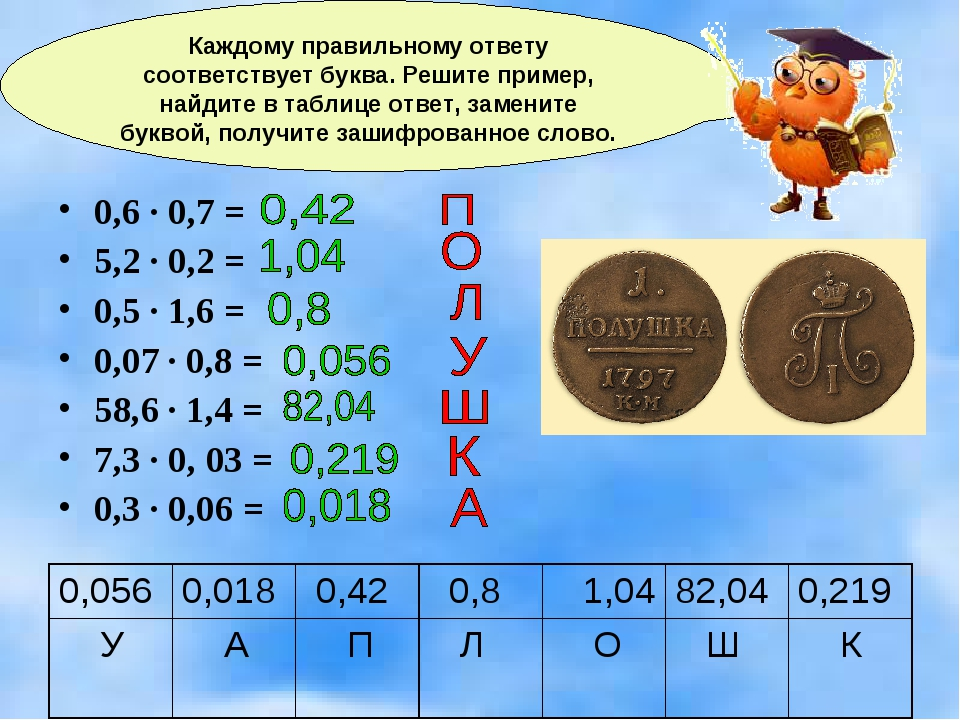 0,6 · 0,7 = 5,2 · 0,2 = 0,5 · 1,6 = 0,07 · 0,8 = 58,6 · 1,4 = 7,3 · 0, 03 = 0...