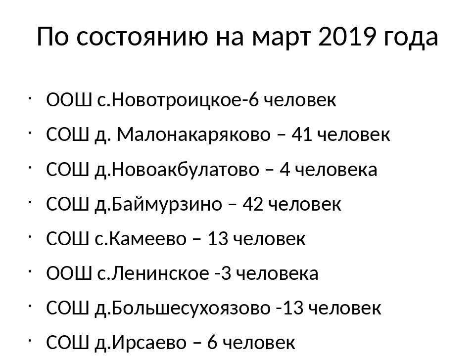 По состоянию на март 2019 года ООШ с.Новотроицкое-6 человек СОШ д. Малонакаря...