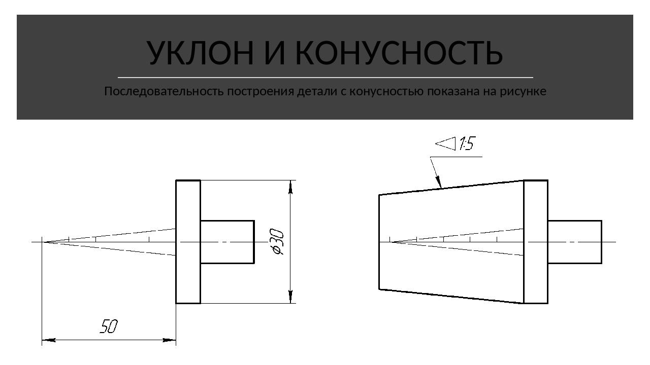 УКЛОН И КОНУСНОСТЬ Последовательность построения детали с конусностью показа...