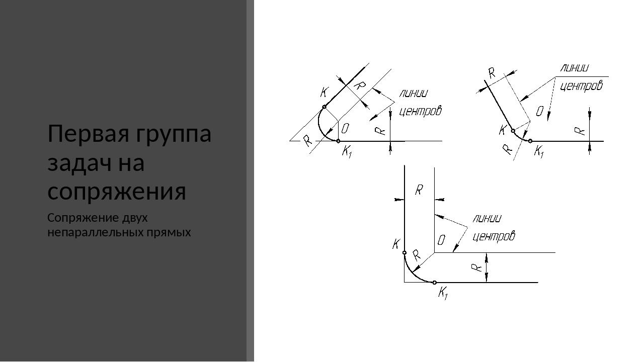 Первая группа задач на сопряжения Сопряжение двух непараллельных прямых