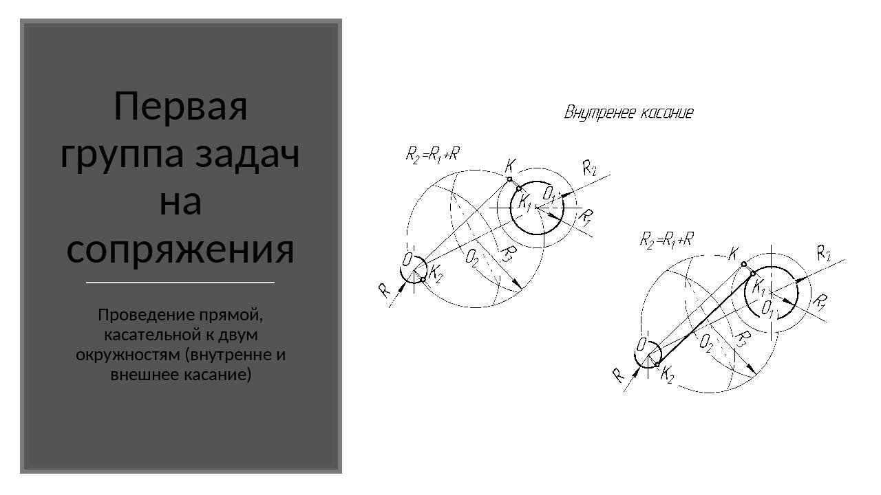 Первая группа задач на сопряжения Проведение прямой, касательной к двум окру...