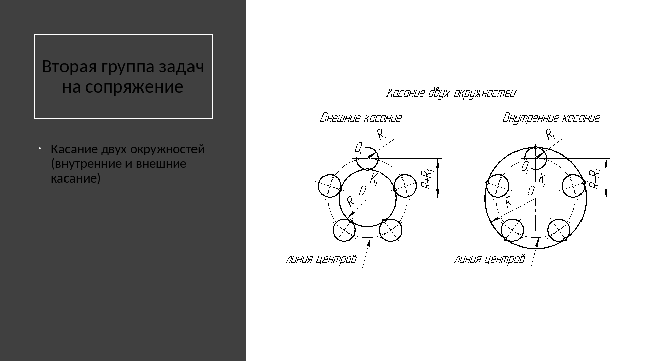 Вторая группа задач на сопряжение Касание двух окружностей (внутренние и вне...