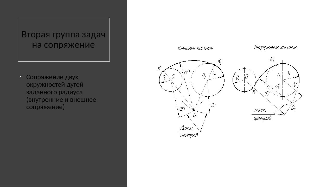 Вторая группа задач на сопряжение Сопряжение двух окружностей дугой заданног...