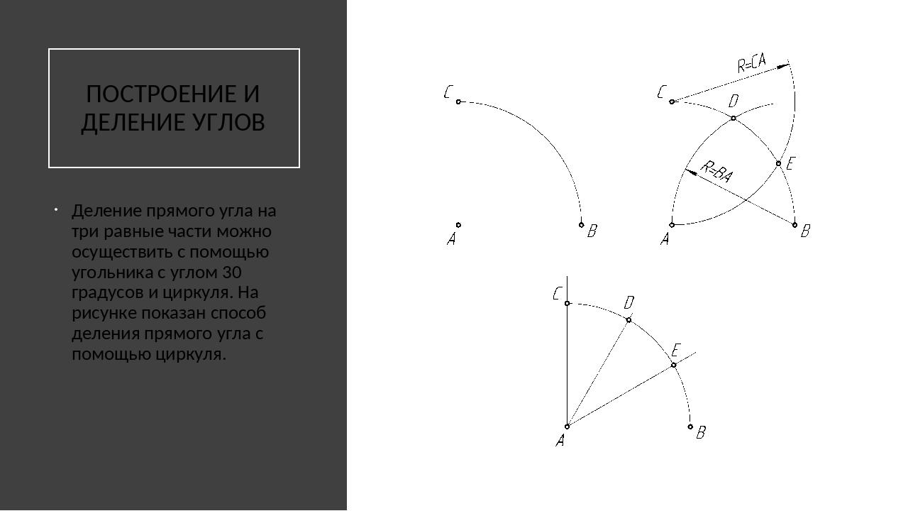 ПОСТРОЕНИЕ И ДЕЛЕНИЕ УГЛОВ Деление прямого угла на три равные части можно ос...