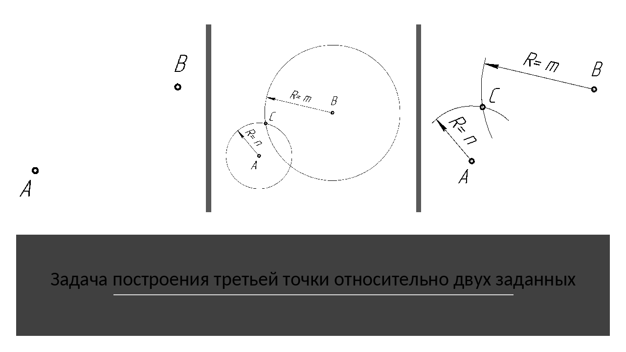 Задача построения третьей точки относительно двух заданных