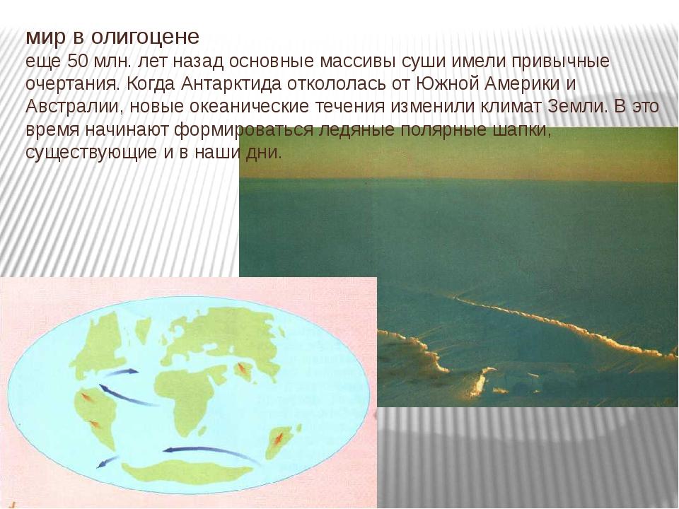 мир в олигоцене еще 50 млн. лет назад основные массивы суши имели привычные о...