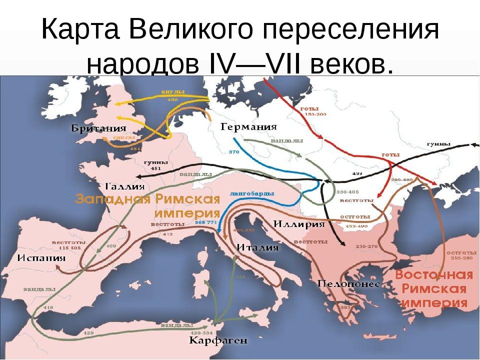 КартаВеликого переселения народовIV—VII веков.