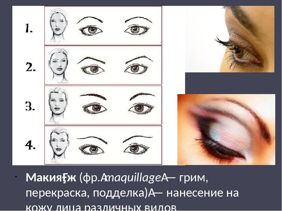 Макия́ж (фр.maquillage— грим, перекраска, подделка)— нанесение на кожу лиц...