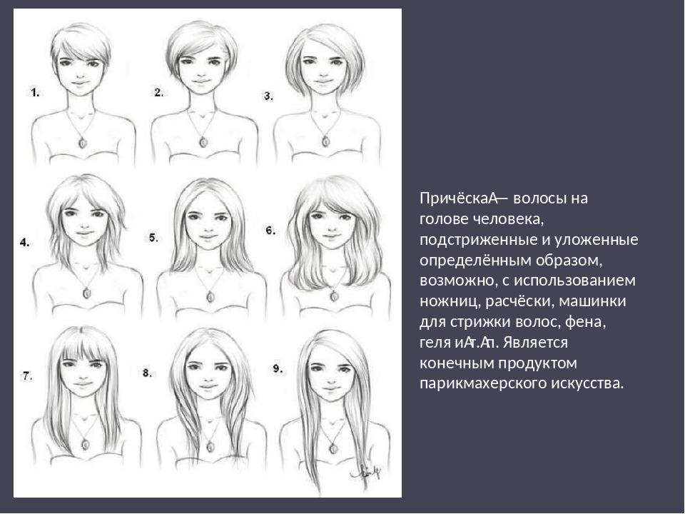 Причёска— волосы на голове человека, подстриженные и уложенные определённым...