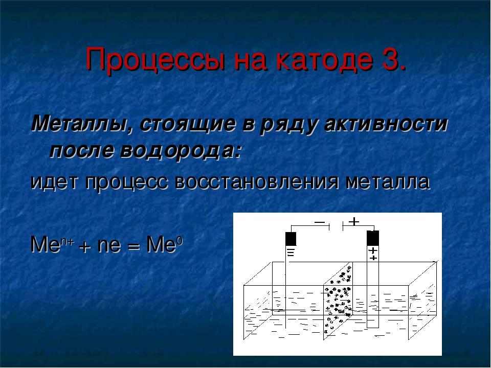 Процессы на катоде 3. Металлы, стоящие в ряду активности после водорода: идет...