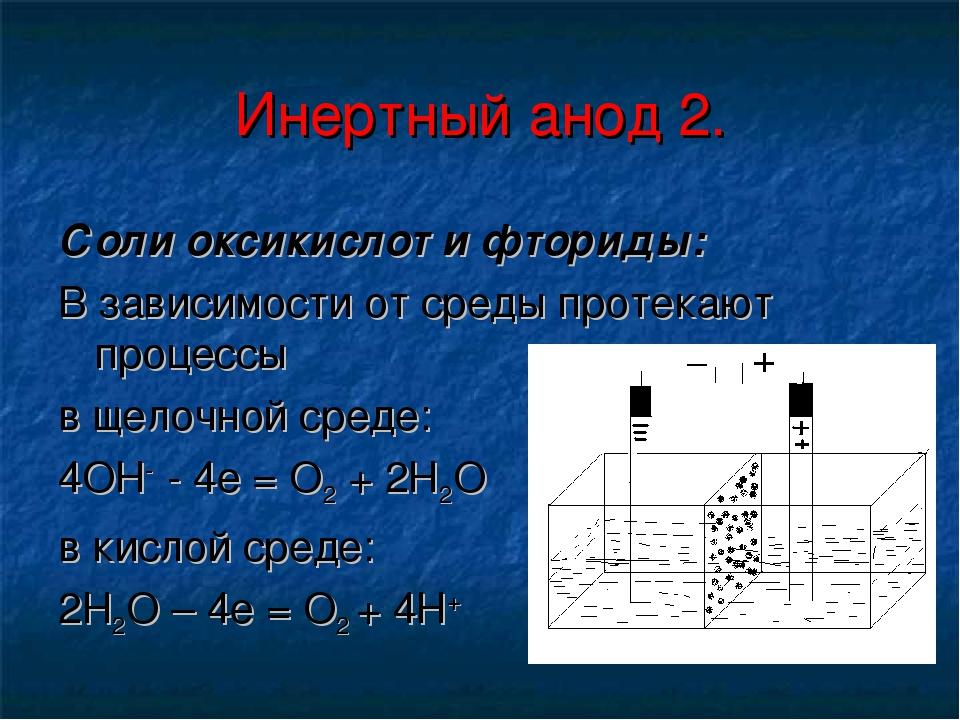 Инертный анод 2. Соли оксикислот и фториды: В зависимости от среды протекают...