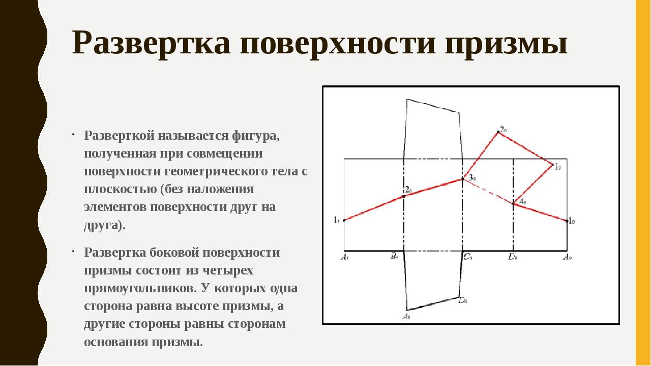 Развертка поверхности призмы Разверткой называется фигура, полученная при сов...