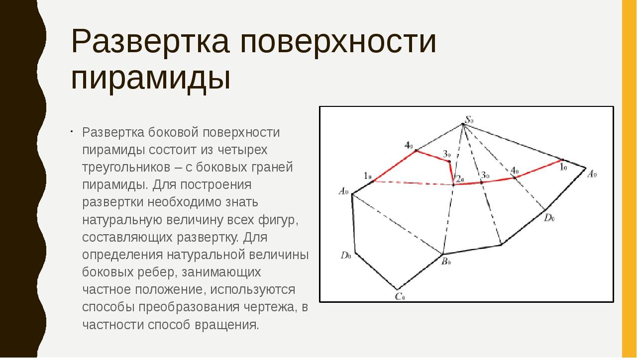 Развертка поверхности пирамиды Развертка боковой поверхности пирамиды состоит...