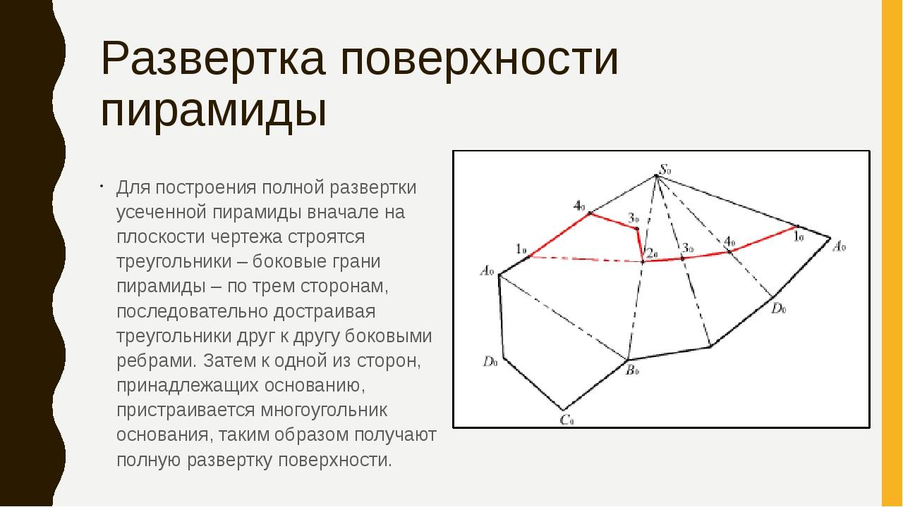 Развертка поверхности пирамиды Для построения полной развертки усеченной пира...