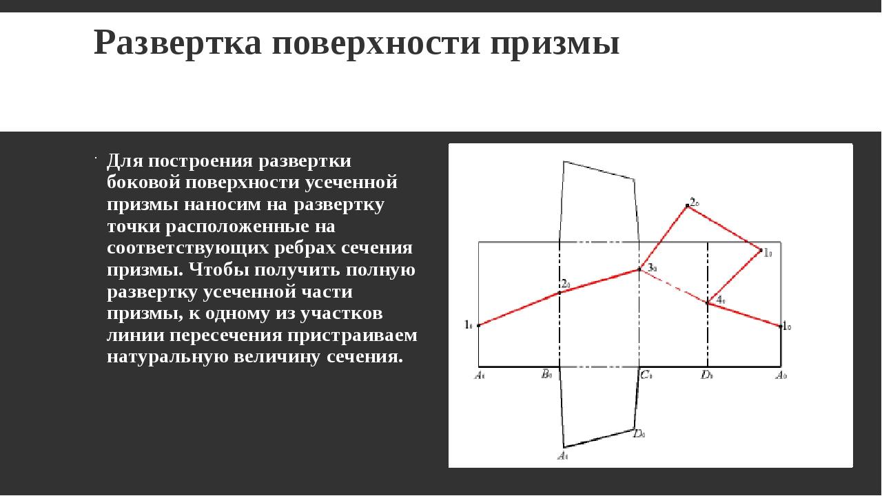 Развертка поверхности призмы Для построения развертки боковой поверхности усе...