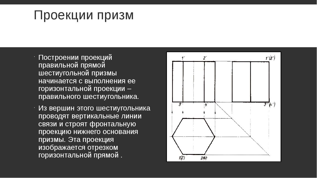 Проекции призм Построении проекций правильной прямой шестиугольной призмы нач...