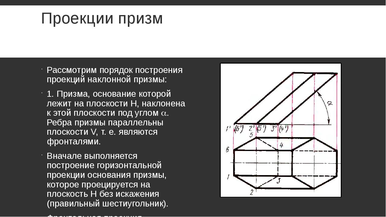 Проекции призм Рассмотрим порядок построения проекций наклонной призмы: 1. Пр...