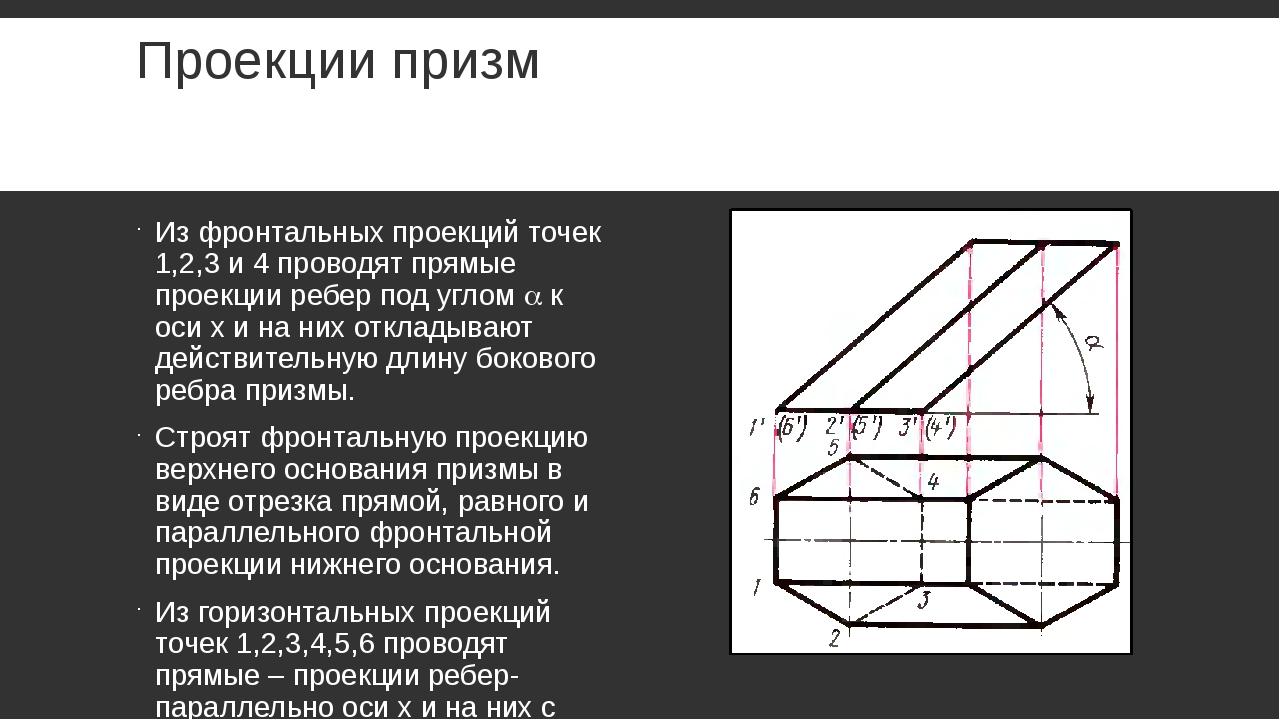 Проекции призм Из фронтальных проекций точек 1,2,3 и 4 проводят прямые проекц...
