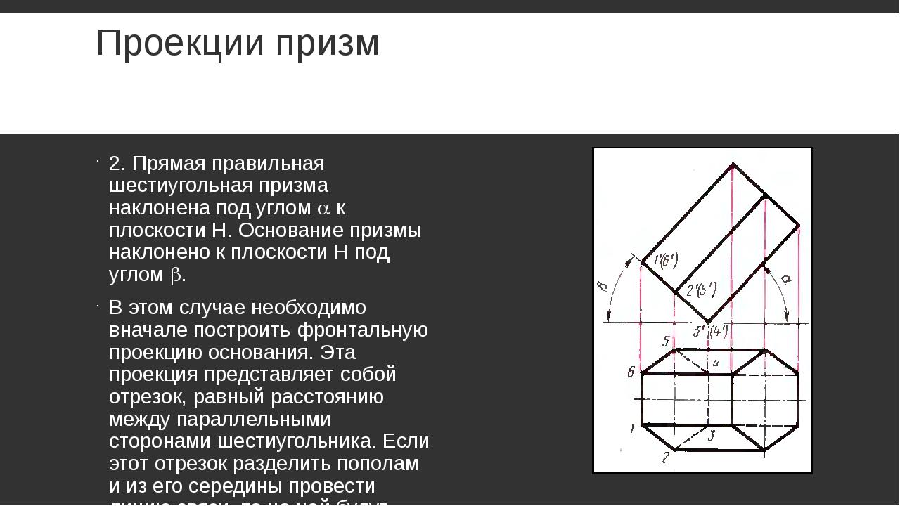 Проекции призм 2. Прямая правильная шестиугольная призма наклонена под углом...