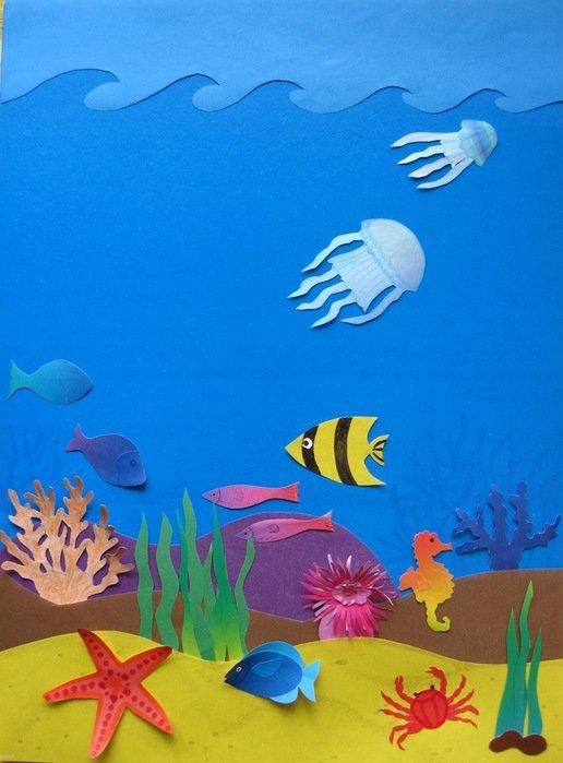 Поделка аквариум бумага в картинках поверхности здесь