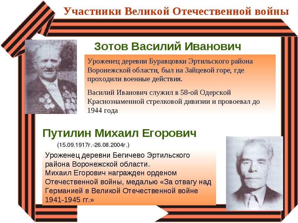 Участники Великой Отечественной войны Зотов Василий Иванович Уроженец деревни...