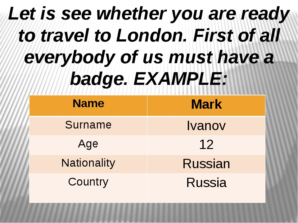 Let is see whether you are ready to travel to London. First of all everybody...