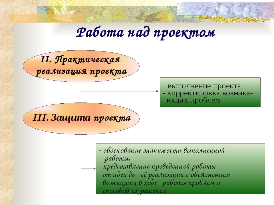 Работа над проектом II. Практическая реализация проекта - выполнение проекта...