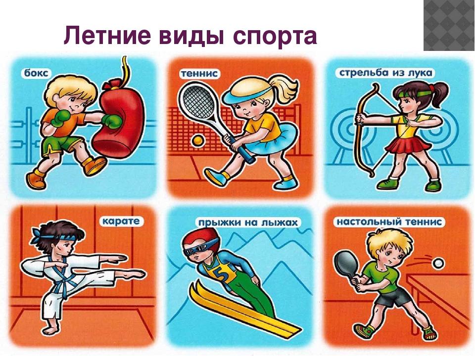 Летние виды спорта с названиями картинки