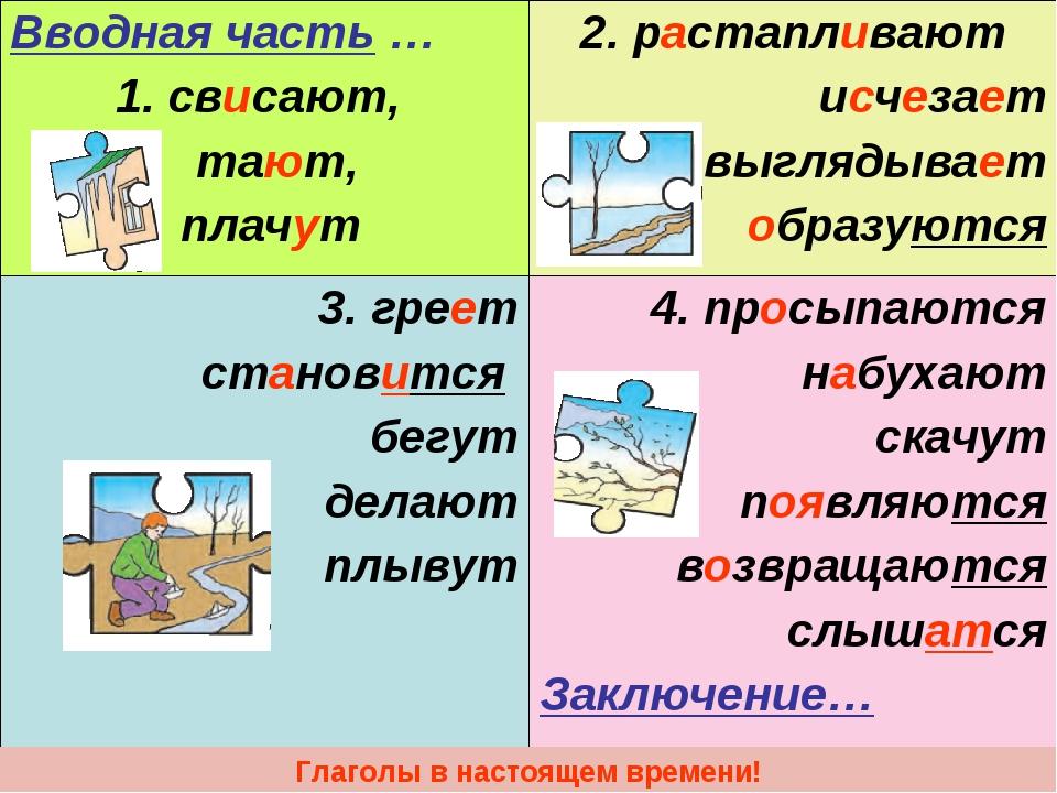 Для, сочинение картинки весны 4 класс используй глаголы в настоящем времени