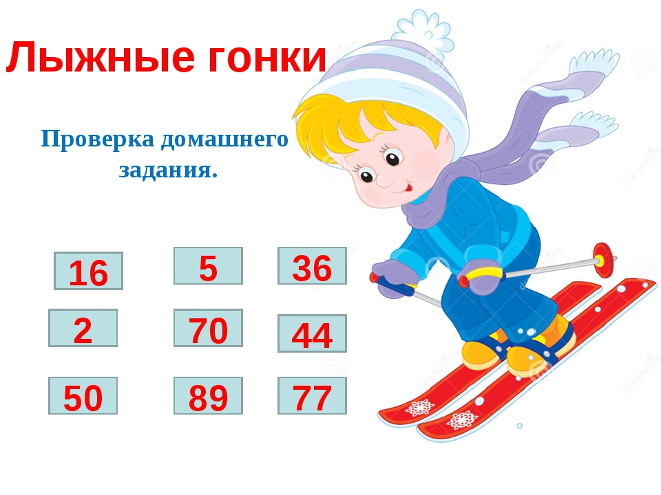 Лыжные гонки Проверка домашнего задания. 16 5 36 44 70 77 89 2 50