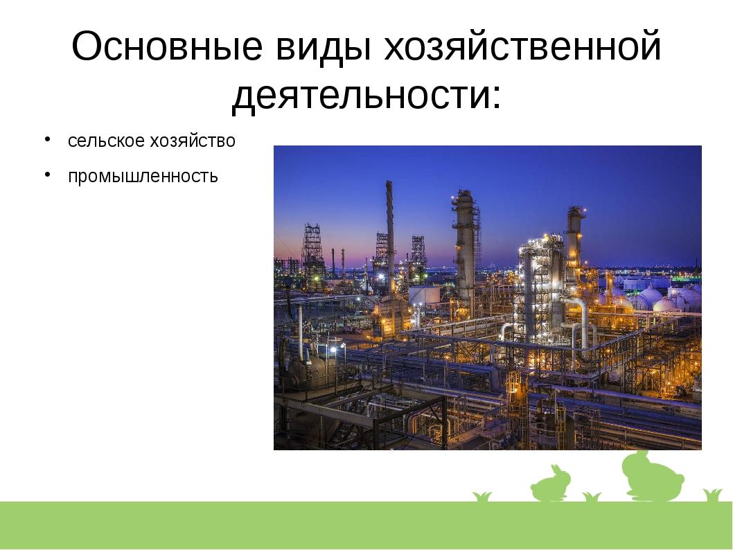 Основные виды хозяйственной деятельности: сельское хозяйство промышленность