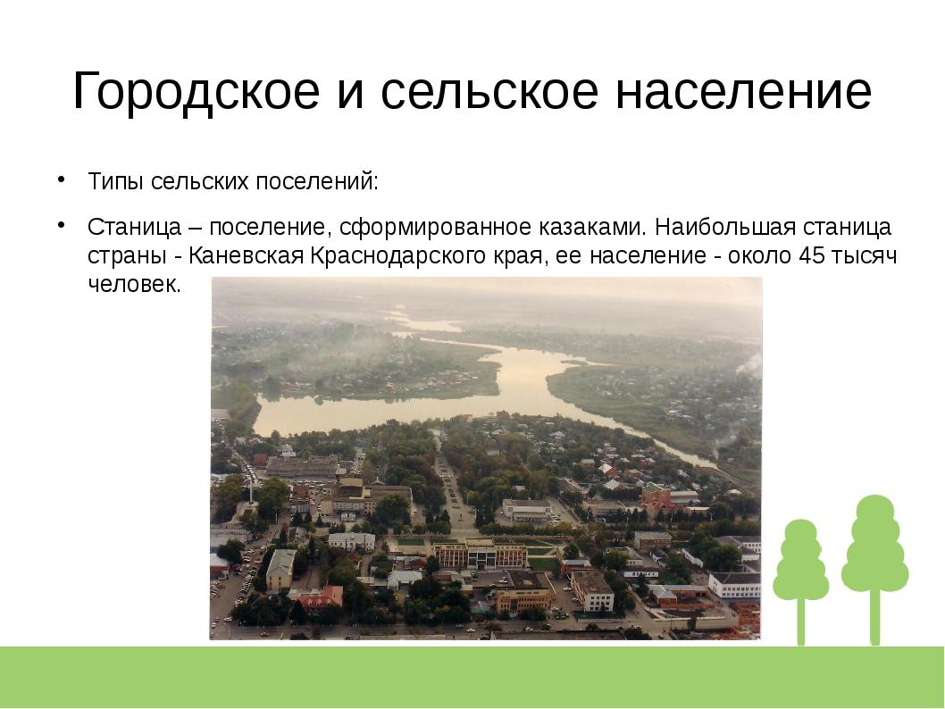 Городское и сельское население Типы сельских поселений: Станица – поселение,...