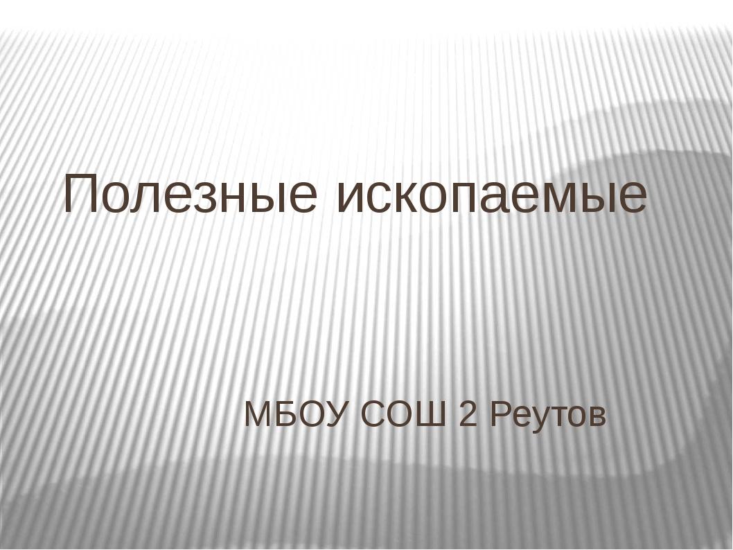 Полезные ископаемые МБОУ СОШ 2 Реутов