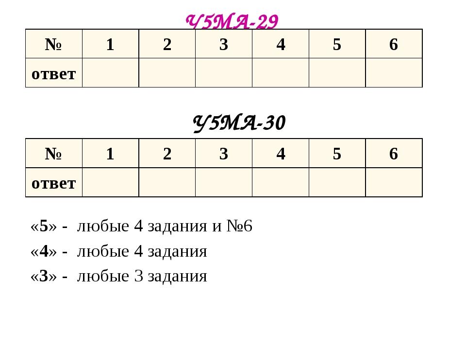 У5МА-29 У5МА-30 «5» - любые 4 задания и №6 «4» - любые 4 задания «3» - любые...