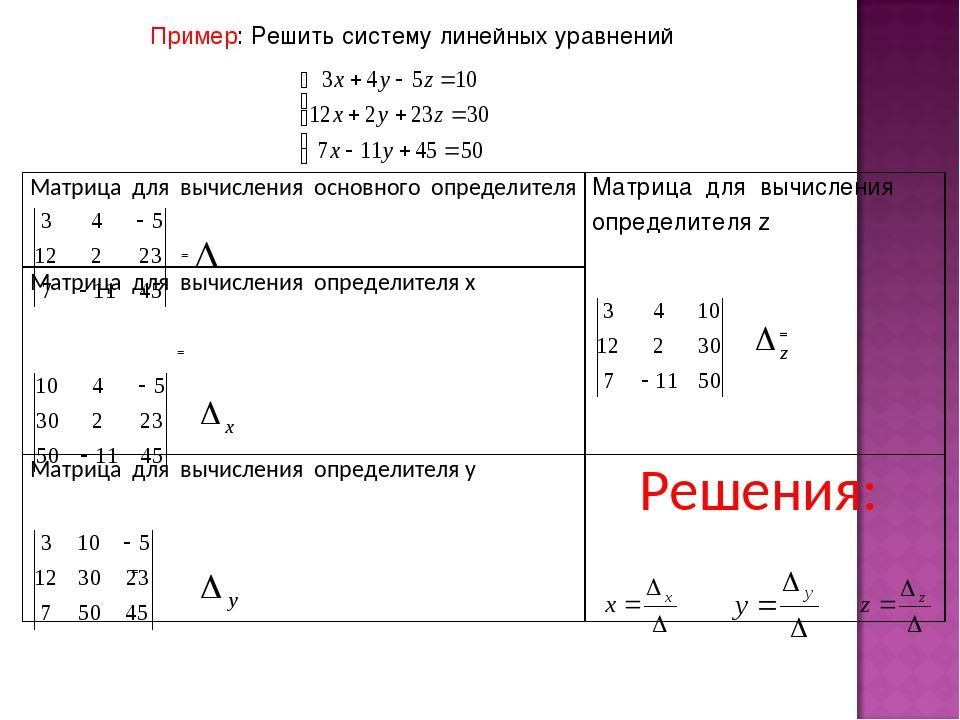 Пример: Решить систему линейных уравнений Матрица для вычисления основного оп...