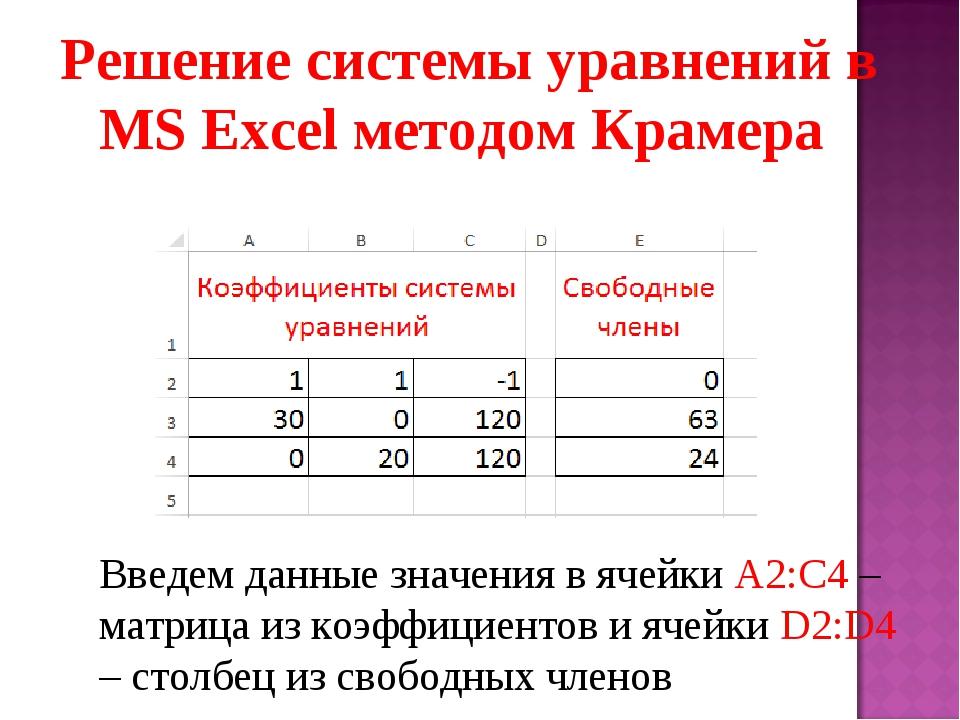 Решение системы уравнений в MS Excel методом Крамера Введем данные значения в...
