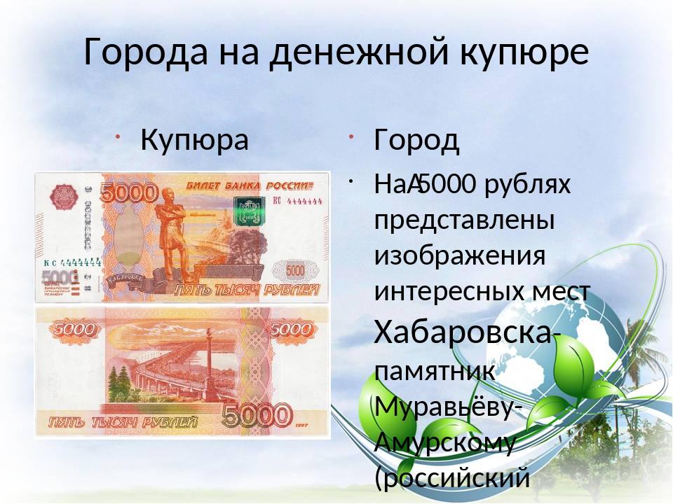 Города на денежной купюре Купюра Город На5000 рублях представлены изображени...
