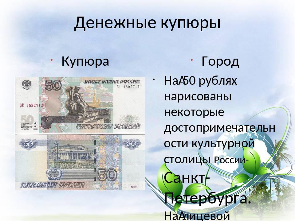 Денежные купюры Купюра Город На50 рублях нарисованы некоторые достопримечате...